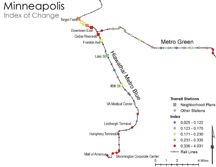 The index of change of stations varied across Minneapolis.