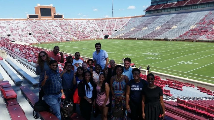Our group at the stadium. Photo Credit: Ashley Bush