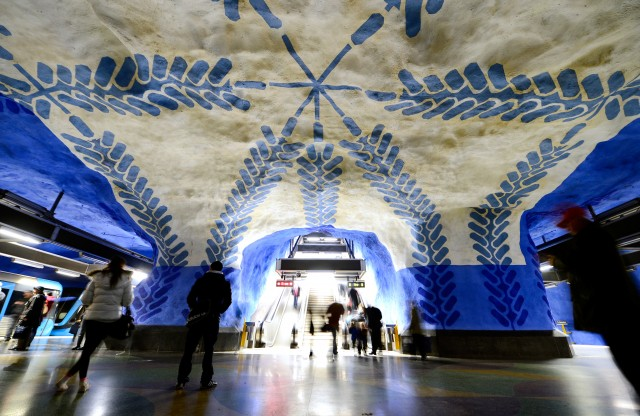Stockholm's metro system, or Tunnelbana, is widely known as the world's longest art gallery. Since the 1950s, the system has been contracting with artists to work with their architects and engineers to transform 90 of its stations into fully immersive experiences. Author's photo.