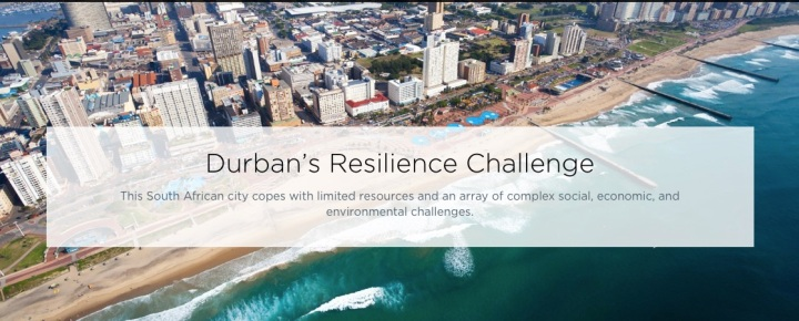 "The 100 Resilient Cities project discusses Durban's issues with flooding, aging infrastructure, and rising sea levels (""100 Resilient Cities, 2016)."