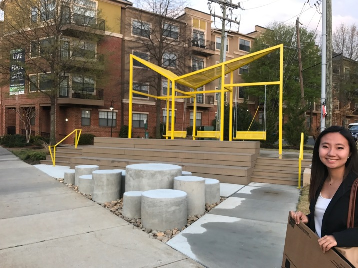 A nice public space nestled near a transit-oriented development in South End, Charlotte.