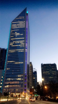 The Charlotte skyline at daybreak.
