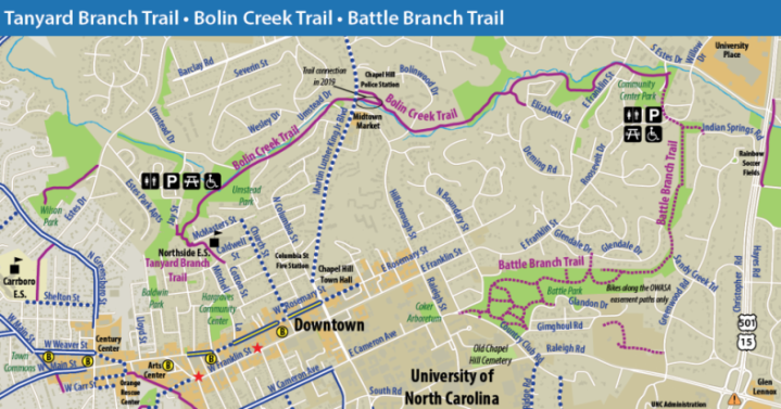 A map of Chapel Hill trails.